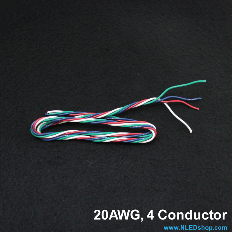 20AWG 4-Strand Quad Twisted Wire - Red, Green, Blue, White - Click Image to Close
